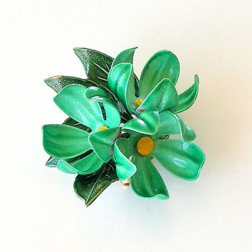 Vintage Flower Pin 1960s FLOWER POWER Green Enamel Flower Brooch