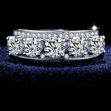 5-Stone CZ Crystal Engagement Wedding Ring