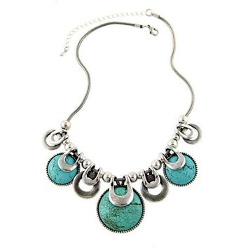 Choker Necklace For Women 2017 New Fashion Ethnic Vintage Accessories Natural Stones Chunky Chains Statement Necklace Jewelry