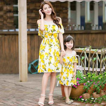 Mother daughter dresses 2017 lemon matching mother daughter clothes chiffon  beach family matching clothes