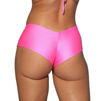 Neon Pink Basic Cheeky Booty Shorts