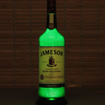 Jameson Irish Whiskey 1 liter Bottle Lamp/ Bar Light-VIDEO DEMO-11 year LED - Intense Sparkle & Glow