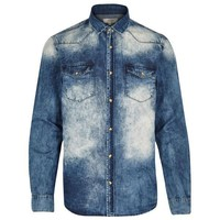 Denim Acid Wash Button-Up Shirt