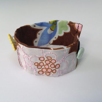 Spring Sentiment Hand Embroidered and Button Embellished Wrist Cuff