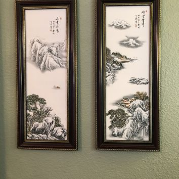 """""""The Beauty of Tranquility"""" Chinese Ceramic Wall Art Paintings"""