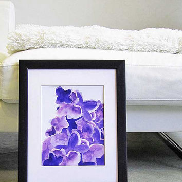 Purple Watercolor Flower Purple Abstract Art Print 8x10 Plum Amethyst Contemporary Art