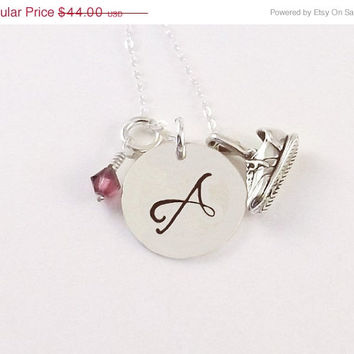 On Sale Hand Stamped Sterling Silver Running Initial Necklace, Runner Initial Necklace with Running Shoe Charm and Swarovski Crystal Birthst