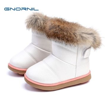 2017 Kids Boots Winter Baby Girls Snow Boots Warm Plush PU Leather Baby Toddler Shoes Outdoor Girls Snow Boots Children Shoes