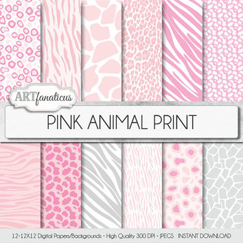 PINK ANIMAL PRINT digital paper with white background with pink, hot pink, silver cheetah, giraffee, and zebra prints