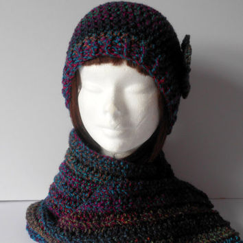 Hat and Scarf Set. Women's Scarf and Hat Set. Gift for her. Crochet Hat and Scarf Set. Crochet Beanie Hat. Crochet long scarf. Multicoloured