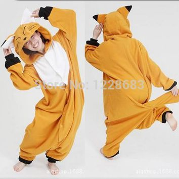 Hot Sale! New Arrival Winter Unisex Animal Onesuit Pajamas Cosplay Costume Animal Pajamas Adult Sleepwear Fox Onesuit