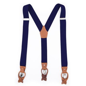 Classic Leather Suspenders-Blue