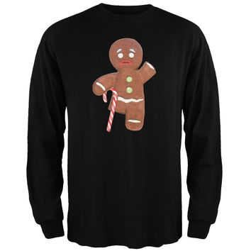 Ginger Bread Man With Candy Cane Crutch Black Adult Long Sleeve T-Shirt