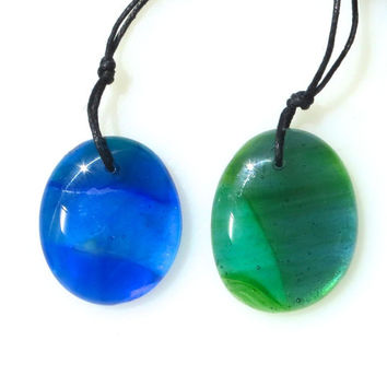 Duo Special Tropical Waters Blue and Green Glass Necklace Watercolors  by  The Wild Willows