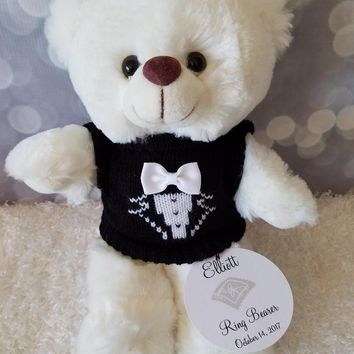 Ring Bearer Teddy Bear, Personalized Cream Teddy Bear 11inches