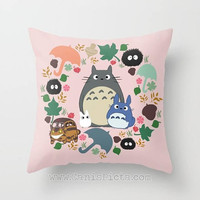 Pink Totoro Kawaii My Neighbor Throw Pillow 16x16 Cover Anime Decorative Soot Catbus Blue White Manga Hayao Miyazaki Studio Ghibli Spring