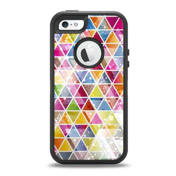 The Colorful Abstract Stacked Triangles Apple iPhone 5-5s Otterbox Defender Case Skin Set