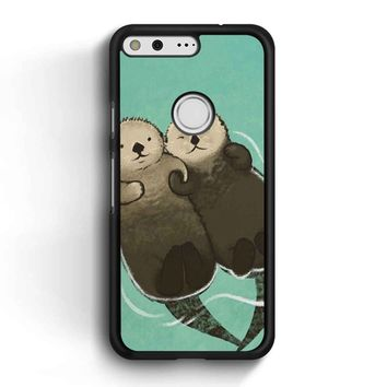 Significant Otters Otters Holding Hands Google Pixel Case