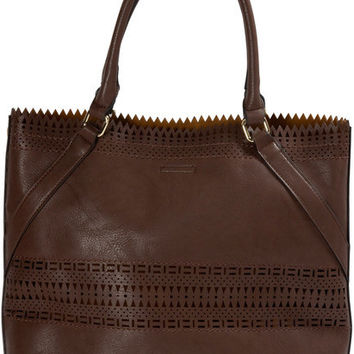 "Olivia Tote in Chocolate - 17"" x 13"" x 5.25"" Laser Cut Handbag"