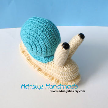 Crocheted Snail -Amigurumi-OOAK- Ready to Ship-Stuffed Animal-Toy
