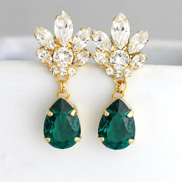 Emerald Earrings, Bridal Emerald Earrings, Dark Green Earrings, Emerlad Chandelier Earrings, Swarovski Emerald Earrings, Emerlad Wedding