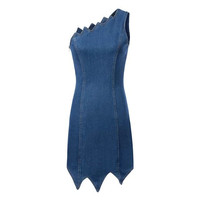 Summer Sexy Denim Dress Sleeveless One Piece Dress [6046276481]