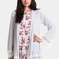 Says Who Crochet Detail Cardigan