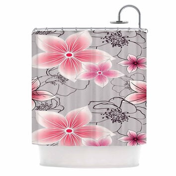"Alison Coxon ""Grey And Pink Floral"" Grey Pink Shower Curtain"