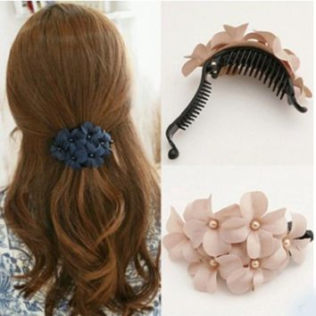 New Flower Crab Hair Clip Trendy Claws Ponytail Elegant Hair Ornaments Women Ladies Hair Accessories Girls Hairclips Hairgrip