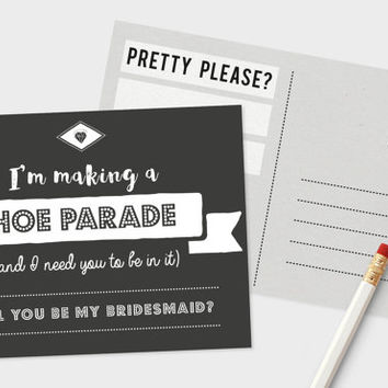Be My Bridesmaid Postcard | Hoe Parade Funny Bridesmaid Card | DIY Wedding | Wedding Printable | Bridesmaid Proposal