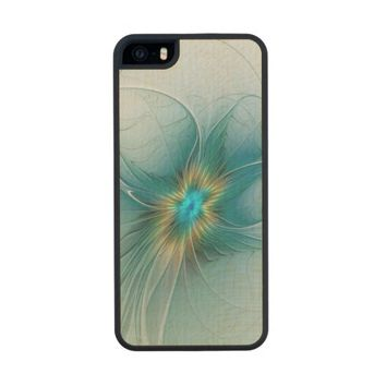 The little Beauty, Abstract Fractal Art with blue Wood Phone Case For iPhone SE/5/5s