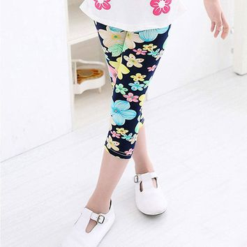 Blue Yellow Green Polka Dot Flower Leggings Calf Length
