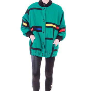80's Vintage Teal Color Block Mondrian Wool Jacket Oversized Batwing Colorful 90s Hip Hop Hipster New Wave Unisex USA Clothing Large XL