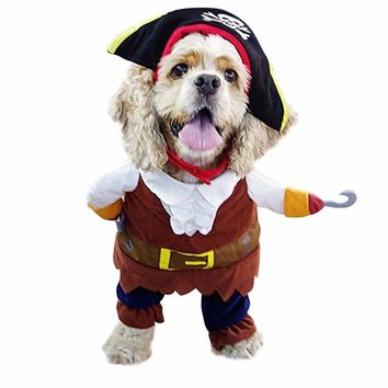 Funny Dog Clothes For Pet Dog Costume Clothes Pirate Suit Corsair Dressing up Clothes For Dogs Plus Hat Party Apparel 35