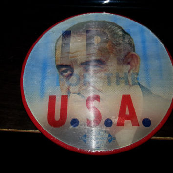 Vintage 60s Lyndon B. Johnson LBJ For The U.S.A. Flasher Pin by Pictorial Productions Inc.