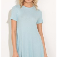 Day dresses > Textured Shift Dress In Baby Blue