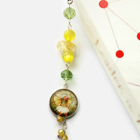 Scentless Mayweed fairy, beaded glass bookmark, book lovers, teachers gift, students, readers, garden, flower lovers, book thong