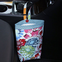 Car Trash Bag ~ Blue Strudel ~ Blue XOXO Band ~ Gearshift Handle ~ Oilcloth Lining
