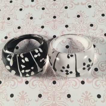Polka Dot Resin Rings, Vintage Jewelry, Black And White