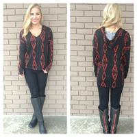 Black & Red Aztec Diamond Hoodie Sweater