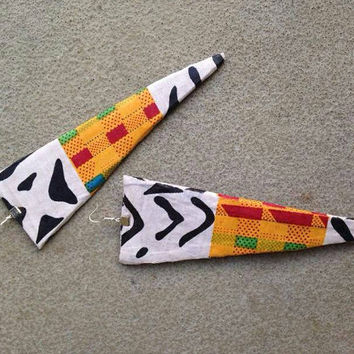 Triangle Kente mudcloth ankara wax print African fabric Kitenge Vlisco oversized large statement dangle earrings