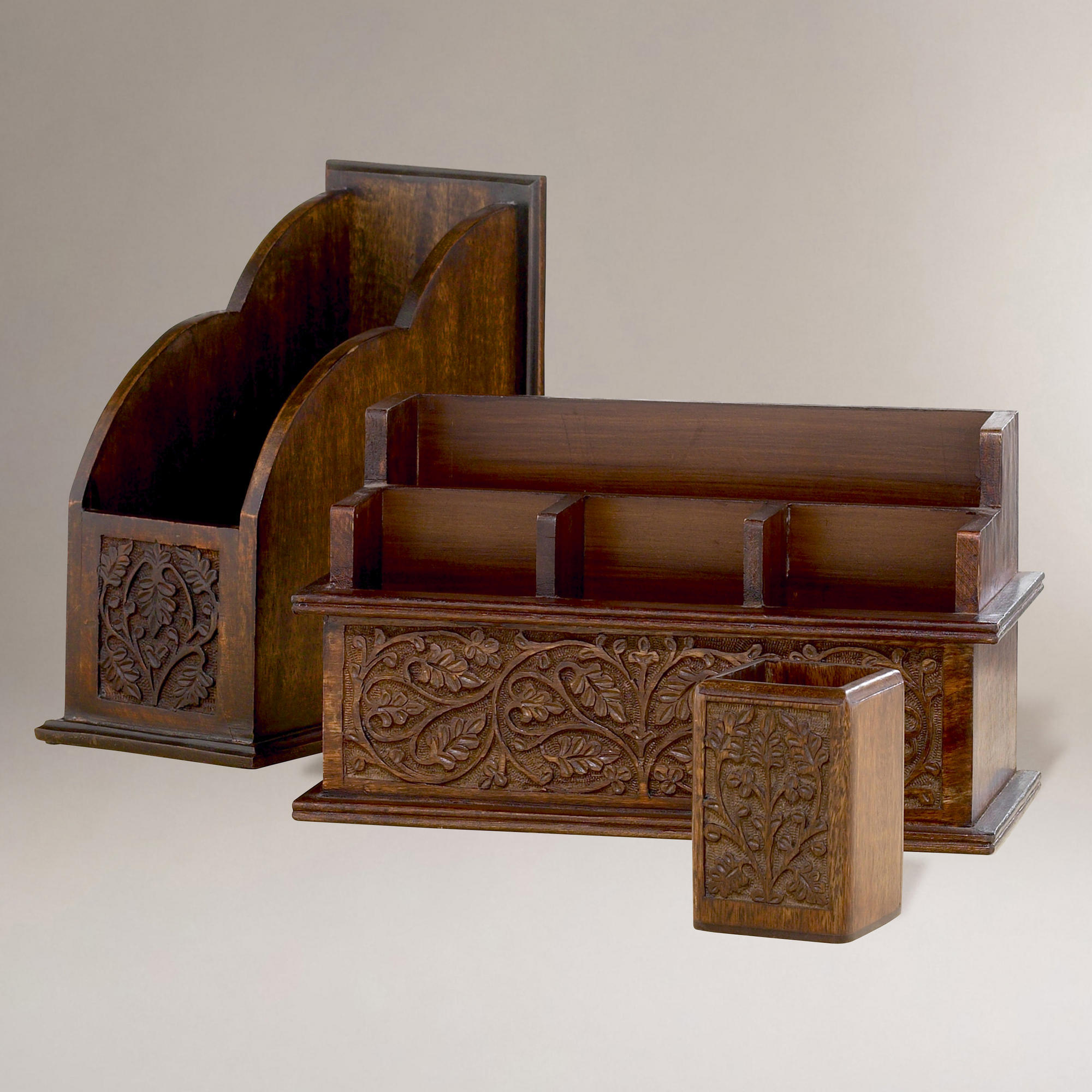 Carved wood desk organizers world from cost plus world market - Wooden desk organizers ...