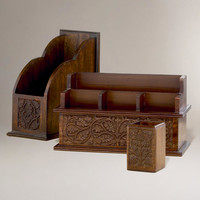 Carved Wood Desk Organizers - World Market