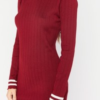 ivy wine ribbed high neck jumper dress