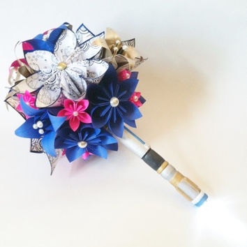 Dr. Who Brides Bouquet- Paper flowers & Lilies, Gallifrey, Origami, Sonic Screwdriver, handmade bouquet, alternative bouquet, nerd, geekery