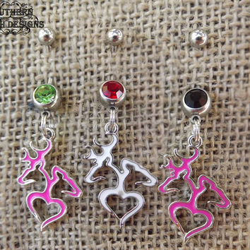 navel ring, belly button, buck and doe charm, pink belly button ring, deer belly ring, pistol guns camo, country jewelry, redneck girl,