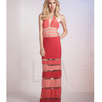 LM by Mignon AL3138 Poppy Striped Illusion Cut Out Dress 2015 Prom Dresses