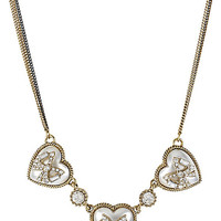 BetseyJohnson.com - HEART BOW FRONTAL NECKLACE WHITE