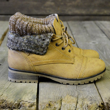 Mountain Trek Tan Cuffed Sweater Boots