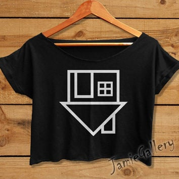 the neighbourhood tshirt crop top women crop tee shirt black white NEI01JG